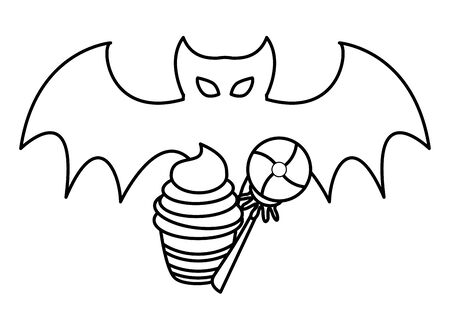 halloween sweet candies and cupcake with bat fliying vector illustration design
