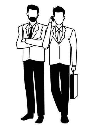 Two business partners working, executive entrepreneur teamwork ,vector illustration graphic design. Banque d'images - 131494233