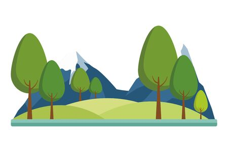 Nature mountains with snow peaks scenery nature outdoors scenery background ,vector illustration graphic design.