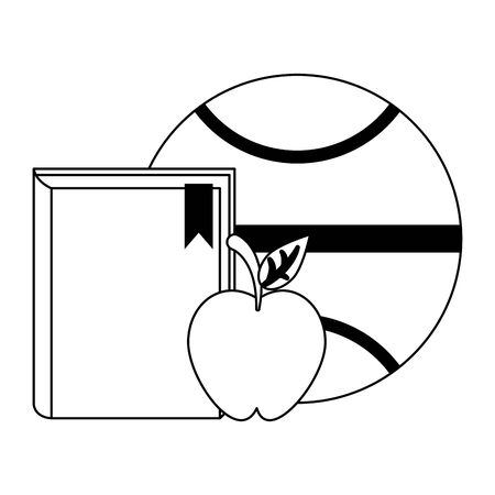 basketball ball with book and apple fruit over white background, vector illustration