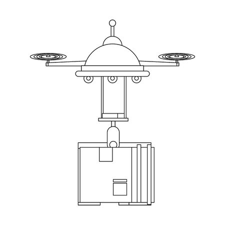 air drone remote control technology device delivery and logistic process with cardboard box cartoon vector illustration graphic design 向量圖像