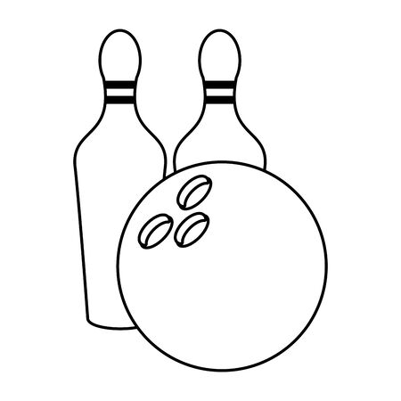bowling ball and pins icon over white background, vector illustration Stock Illustratie