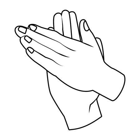 Hände klatschen Symbol Cartoon Schwarz-Weiß-Vektor-Illustration-Grafik-Design