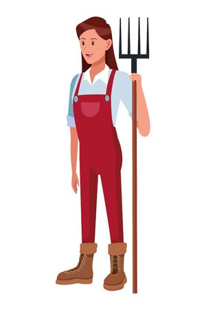 farm, animals and farmer woman with overall, boots and holding a rake avatar cartoon character vector illustration graphic design