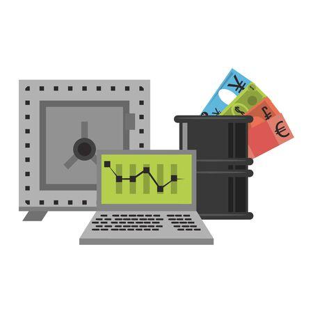 Online stock market investment laptop petroleum barrel and strongbox symbols vector illustration