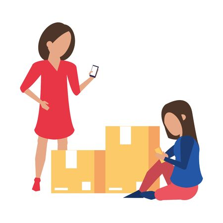 women using smartphone technology for logistic and delivery tracing cartoon vector illustration graphic design