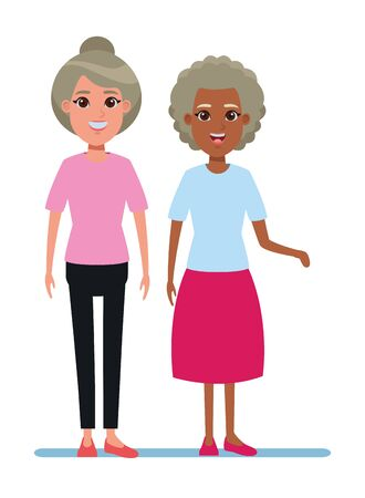 elderly people avatar afroamerican old woman and old woman with bun profile picture cartoon character portrait vector illustration graphic design