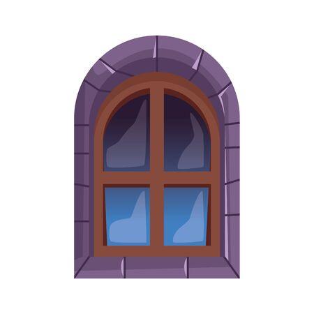 halloween castle window isolated icon vector illustration design