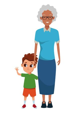 Family afro grandmother hand of with boy vector illustration graphic design