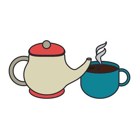 tea pot and mug over white background, vector illustration Çizim