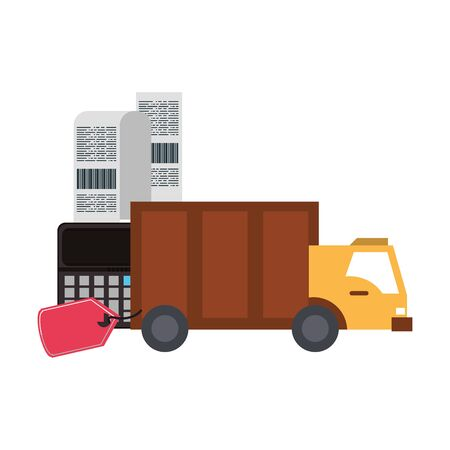 Delivery truck with shopping tag and calculator with bill symbols vector illustration graphic design Çizim