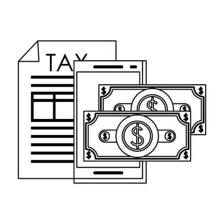 state government tax business balance calculation work personal finance saving money elements cartoon vector illustration graphic design