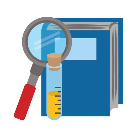 book with test tube and magnifying glass over white background, vector illustration