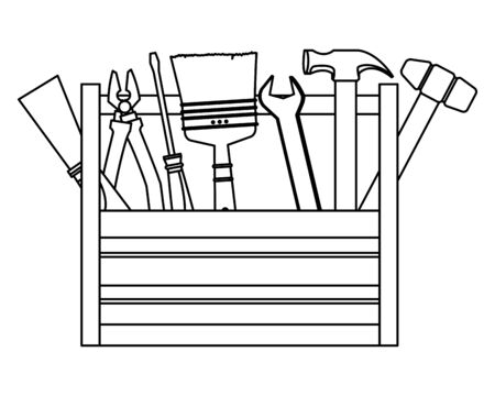 Toolbox with set of construction tools vector illustration graphic design.