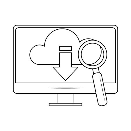 computer with cloud storage and magnifying glass icon over white background, vector illustration