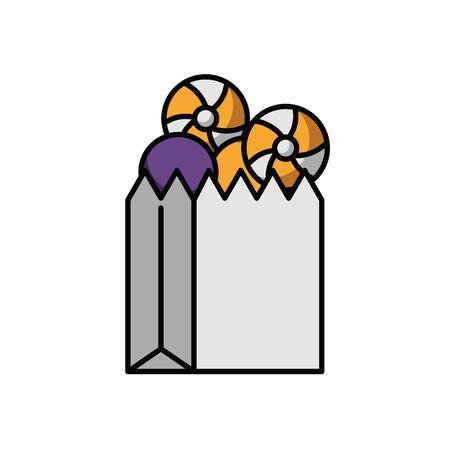 halloween sweet candies in paper bag vector illustration design