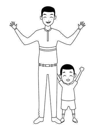 Family single father and little afro son smiling cartoon vector illustration graphic design
