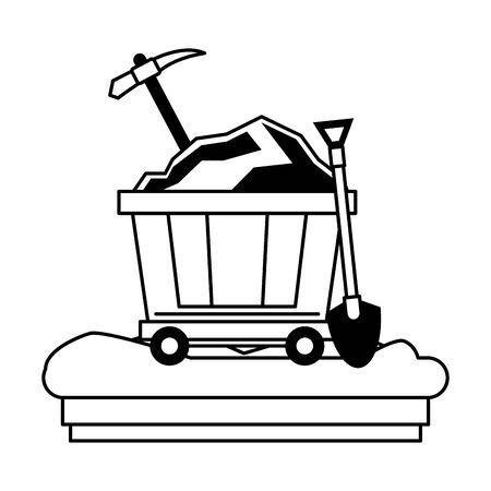 Mining carrier with pick and shovel on ground vector illustration graphic design Illusztráció