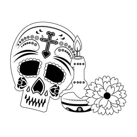 Mexico celebrations skull and candle with flower cartoons vector illustration graphic design Çizim