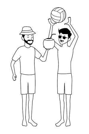 Men Friends enjoying summer playing voleyball isolated vector illustration graphic design Çizim