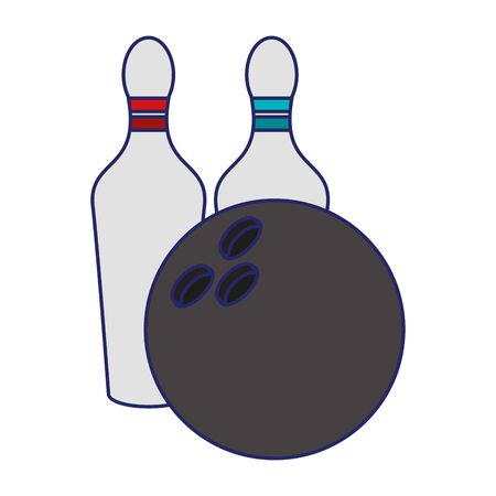 bowling ball and pins icon over white background, vector illustration 向量圖像
