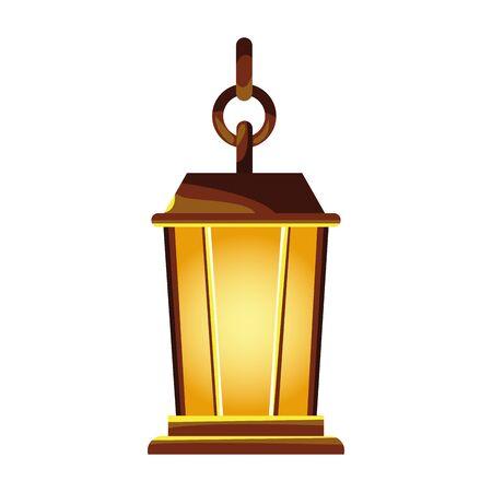 decorative lamp kerosene hanging icon vector illustration design