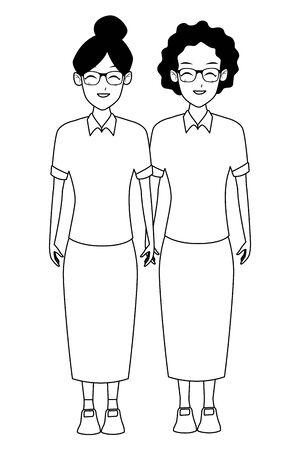 Grandmothers friends couple smiling cartoon vector illustration graphic design Ilustração