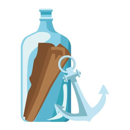bottle with message and anchor nautical icon vector illustration design