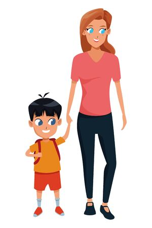 Family single mother with kid son holding school backpack isolated vector illustration graphic design