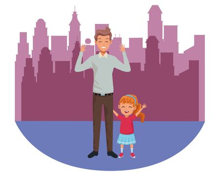 Family single father and little daughter smiling cartoon in the city urban scenery background ,vector illustration graphic design.