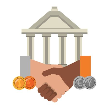 Bank building and handshake with coins symbols vector illustration