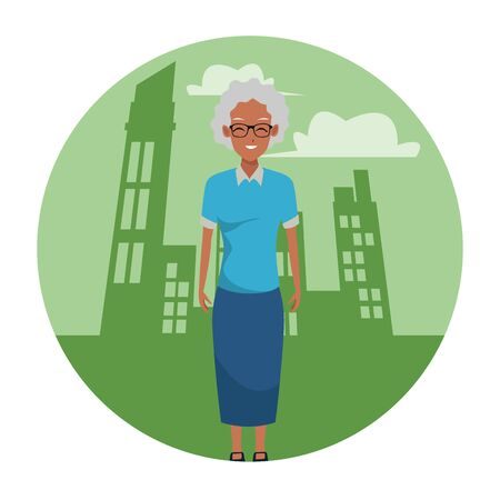 old afroamerican woman smiling and happy in the city scenery round icon vector illustration graphic design Ilustração