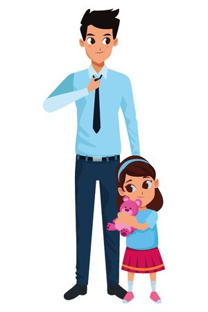 Family single father with little daughter cartoon vector illustration graphic design Ilustrace