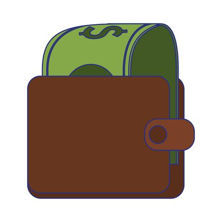 Wallet with cash money cartoon vector illustration graphic design Illusztráció