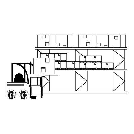 Forklift loading box to warehouse boxes vector illustration
