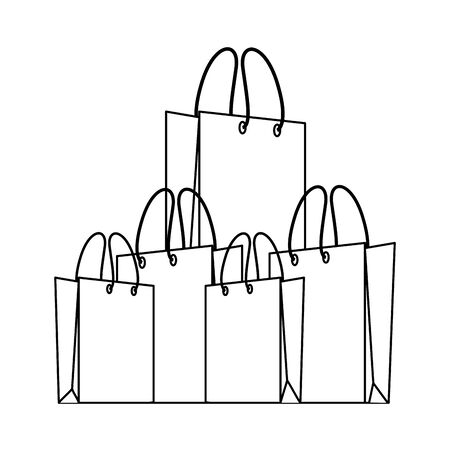 shopping retail sale store, shopping bags cartoon vector illustration graphic design Illustration