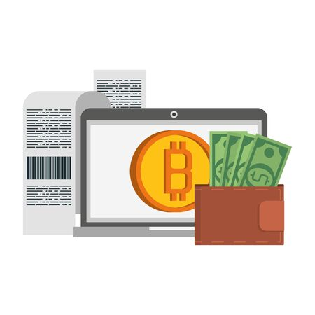 Bitcoin cryptocurrency payment laptop and coin with wallet symbols vector illustration graphic design Ilustrace