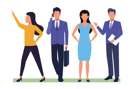 Executive business entrepreneur teamwork with documents ,vector illustration graphic design.