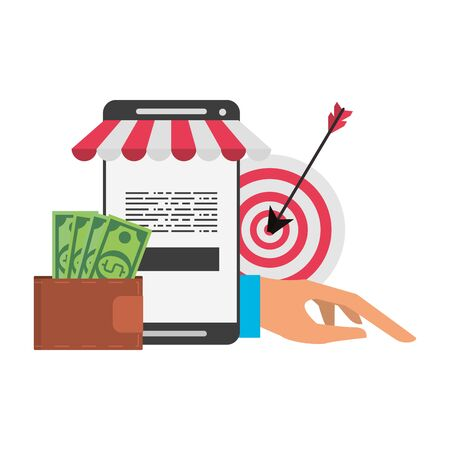 Online shopping and payment smartphone wallet and target dartboard symbols vector illustration graphic design