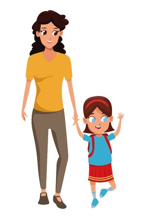 Family single mother with children holding school backpack cartoon isolated vector illustration graphic design Иллюстрация