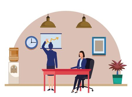 business business people businesswoman back view pointing a data chart and businesswoman sitting on a desk avatar cartoon character indoor with hanging lamps, water dispenser, plant pot and little table vector illustration graphic design Иллюстрация