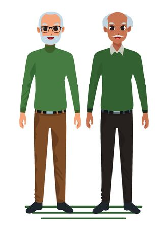 Grandparents friends couple smiling cartoon vector illustration graphic design Ilustração