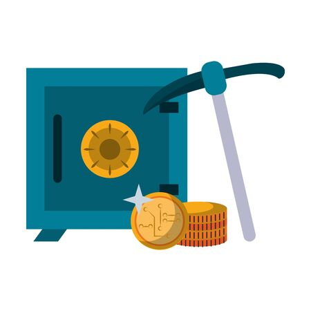 Strongbox and cryptocurrency coins with mining pick vector illustration graphic design Ilustrace