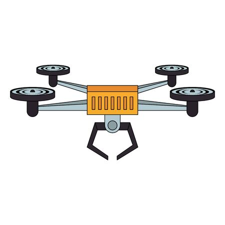 air drone remote control technology yellow device cartoon vector illustration graphic design