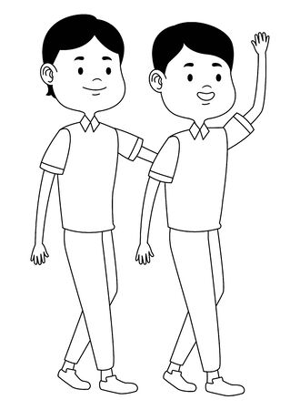 Teenagers male friends greeting and smiling with casual clothes cartoons ,vector illustration graphic design. Ilustrace