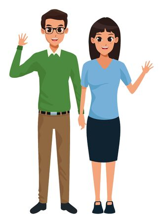 Young executive man and woman couple smiling and greeting cartoon vector illustration graphic design