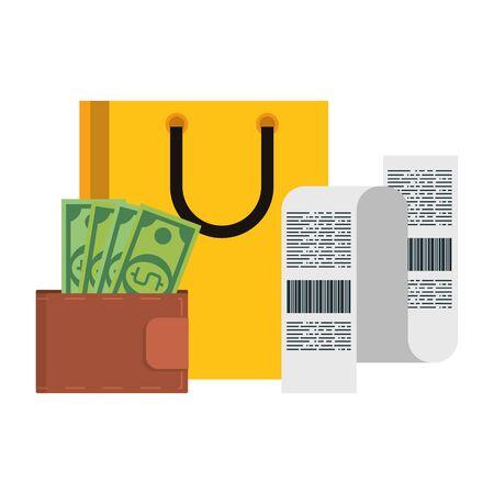 Shopping bag with bill and wallet with money symbols vector illustration graphic design Ilustração