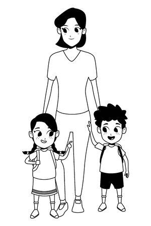 Alleinerziehende Mutter der Familie mit zwei Kindern, die Schulrucksäcke halten, Vektorillustrationsgrafikdesign