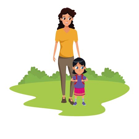 Family single mother with kid holding school backpack in the nature park scenery ,vector illustration. Ilustração