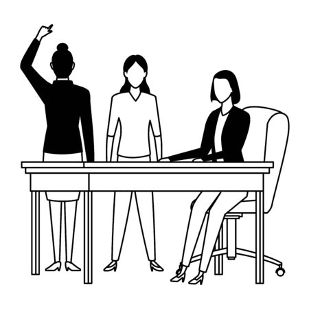 business people businesswoman back view pointing and businesswoman sitting on a desk avatar cartoon character in black and white